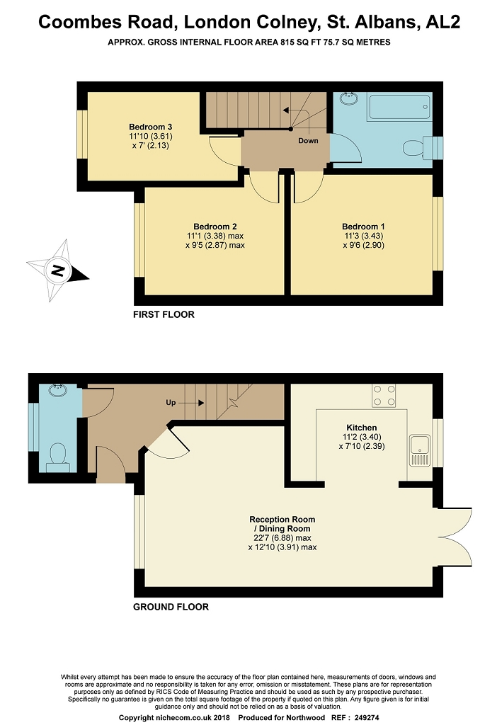 Floorplan for Coombes Road, London Colney, AL2