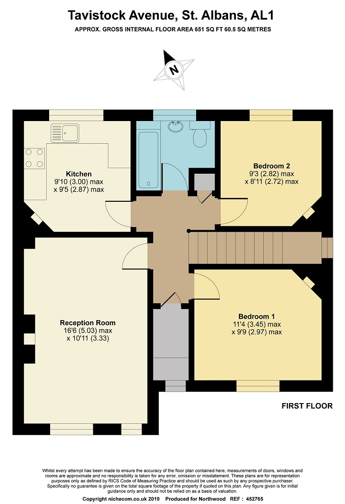 Floorplan for Tavistock Avenue, St Albans, AL1